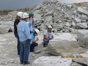 IUPUC class examining Silurian Laural Limestone exposure.