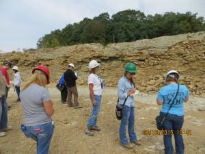 "IUPUC class examining Silurian Brassfield Limestone (""golden"" Brassfield)."